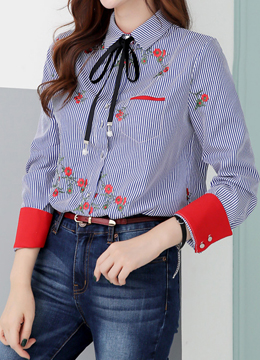 Flower Embroidered Stripe Collared Shirt, Styleonme