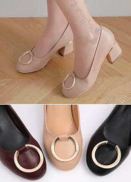 Gold Ring Buckle Mid-Heels, Styleonme