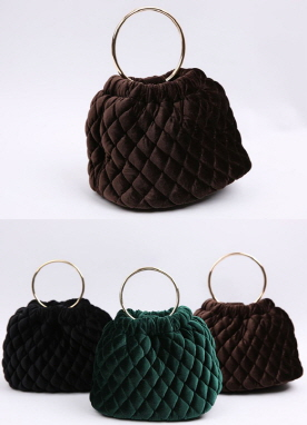 Pearl Chained Velvet Quilted Mini Bag, Styleonme