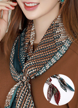 Zig-Zag Print Pleated Scarf (Ring Set), Styleonme