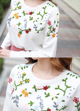 Petite Flower Embroidered Knit Top, Styleonme