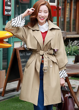 Puff Sleeve Double-Breasted Trench Coat, Styleonme