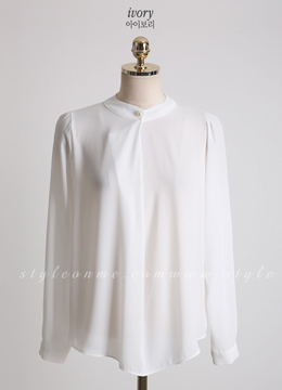 Pearl Detail Long Sleeve Blouse, Styleonme