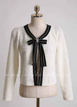 Front Ribbon Detail Cardigan, Styleonme