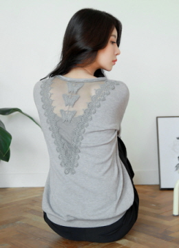 Cat Print Back Lace Detaiil Knit Top, Styleonme