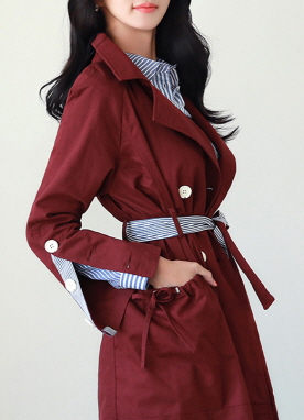 Double-Breasted Stripe Detail Trench Coat, Styleonme