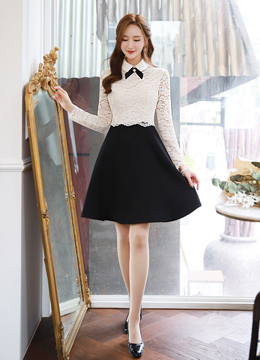 Ribbon Brooch Set Collared Lace Dress, Styleonme