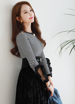 See-through Frill Sleeve Stripe T-shirt, Styleonme