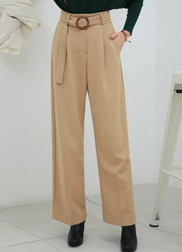 Antique Style Buckle Wide Leg Slacks, Styleonme