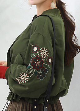 Flower Embroidered Zipper Jacket, Styleonme