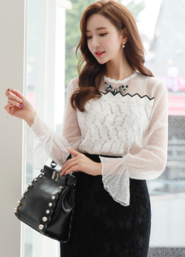 Scallop Trim Bell Sleeve Lace Blouse, Styleonme