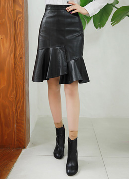 Asymmetrical Ruffle Hem Leather Skirt, Styleonme