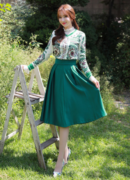 Green Pintuck Detail Long Skirt, Styleonme