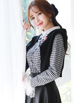 Gingham Check Print Lace Collar Blouse, Styleonme