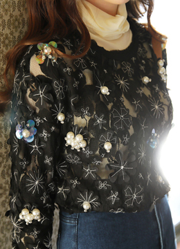 Pearl and Sequin Detail Flower Embroidered Sweatshirt, Styleonme