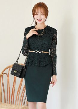 Floral Lace Peplum Dress, Styleonme