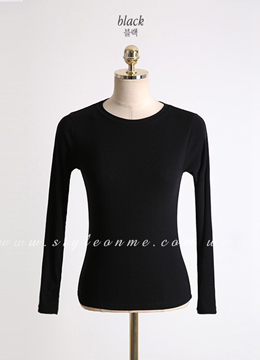 Slim Fit Long Sleeve Round Neck Tee, Styleonme