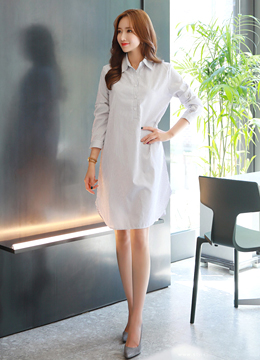 Layered Vest Collared Shirt Style Dress, Styleonme