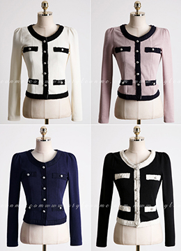 Silver Button Color Trim Jacket, Styleonme