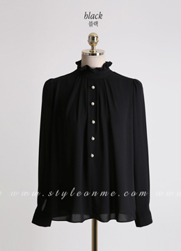 Pearl Button Frill High Neck Blouse, Styleonme