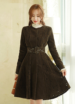 Feminine Floral Lace Belted Flared Coat, Styleonme