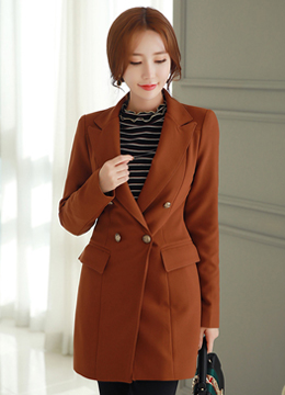 Classic Double-Breasted Tailored Jacket, Styleonme