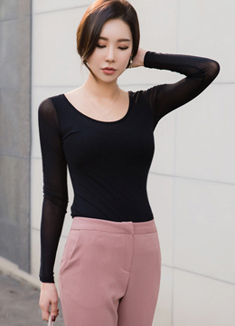 Sheer Scoop Neck T-shirt, Styleonme