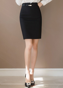 Simple Belted H-Line Skirt, Styleonme