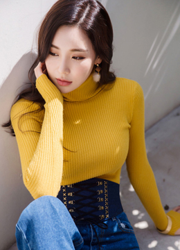 Soft Turtleneck Ribbed Knit Tee, Styleonme