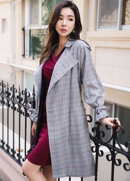 Check Print Open-front Waist Tie Trench Coat, Styleonme