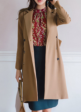 Double-Breasted Slim Fit Long Jacket, Styleonme