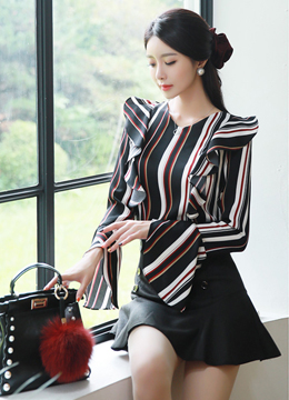 Pinstripe Bell Sleeve Frill Blouse, Styleonme