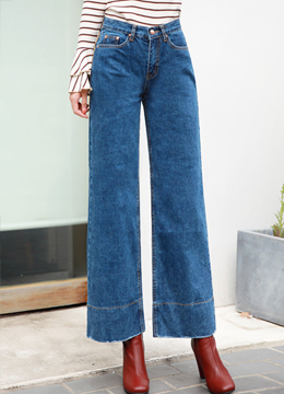 Stitch Line Detail Blue Wash Wide Leg Jeans, Styleonme