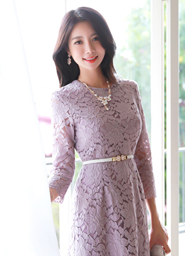 Scallop Trim Quarter Sleeve Floral Lace Dress, Styleonme