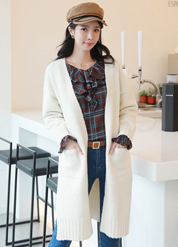 Two Pocket Open-front Long Cardigan, Styleonme