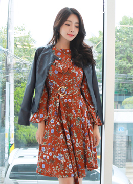Floral Print Belted Bell Sleeve Ruffle Dress, Styleonme