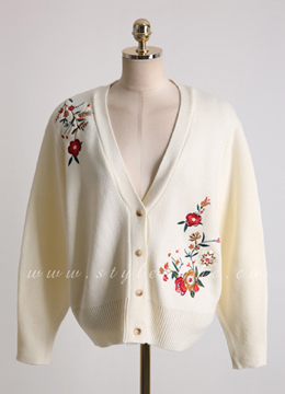Flower Embroidered Balloon Sleeve V-Neck Cardigan, Styleonme