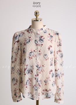 Rose Print Button-Up Blouse, Styleonme