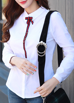 Ribbon Brooch Set White Collared Shirt, Styleonme