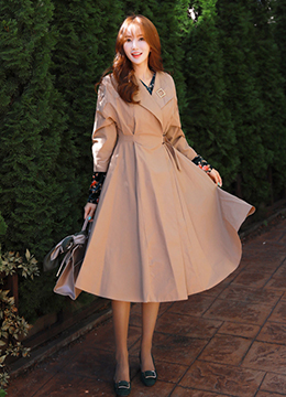 Wrap Style Flared Trench Coat, Styleonme
