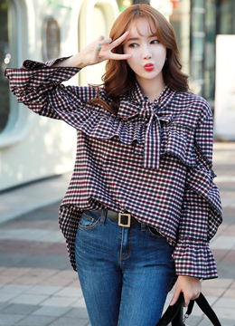 Gingham Print Ribbon Tie Ruffle Blouse, Styleonme
