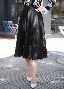 Romantic Lace Belted Long Skirt, Styleonme