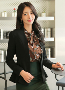 Brooch Set Collarless Jacket, Styleonme