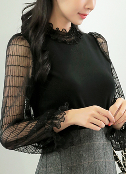 Frill Neckline See-through Lace Sleeve T-shirt, Styleonme