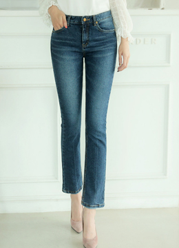 Blue Wash Semi-Boot Cut Jeans, Styleonme