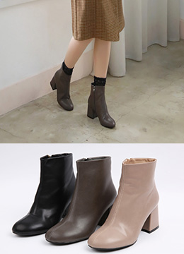 Basic Mid-Heel Ankle Boots, Styleonme