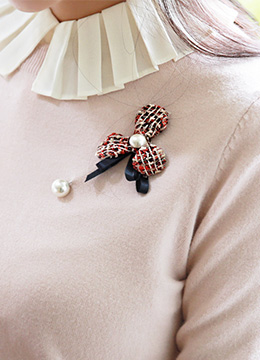 Pearl Accent Tweed Flower Brooch, Styleonme