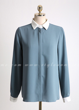 White Collar and Cuff Blouse, Styleonme