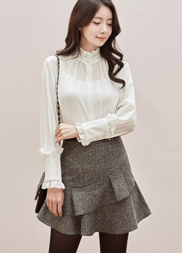 Pearl Button Frill Blouse, Styleonme