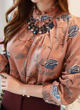 Satin Suede Rose Print Blouse, Styleonme